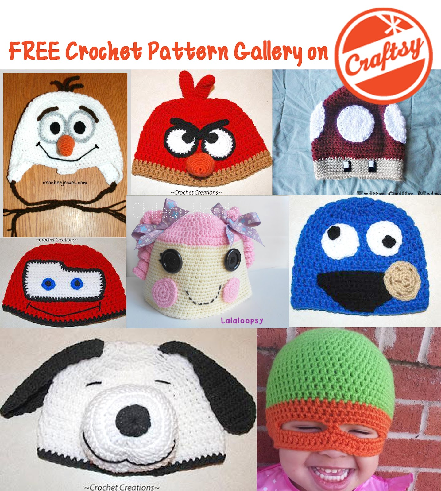 Free Crochet Patterns For Character Hats : FREE Character Hats in the Craftsy Crochet Pattern Gallery ...