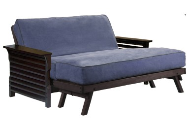 A futon with an ottomat can provide a longer sleeping surface which can be split apart to look like normal furniture (ie. you can move the ottoman away from the futon in your room).