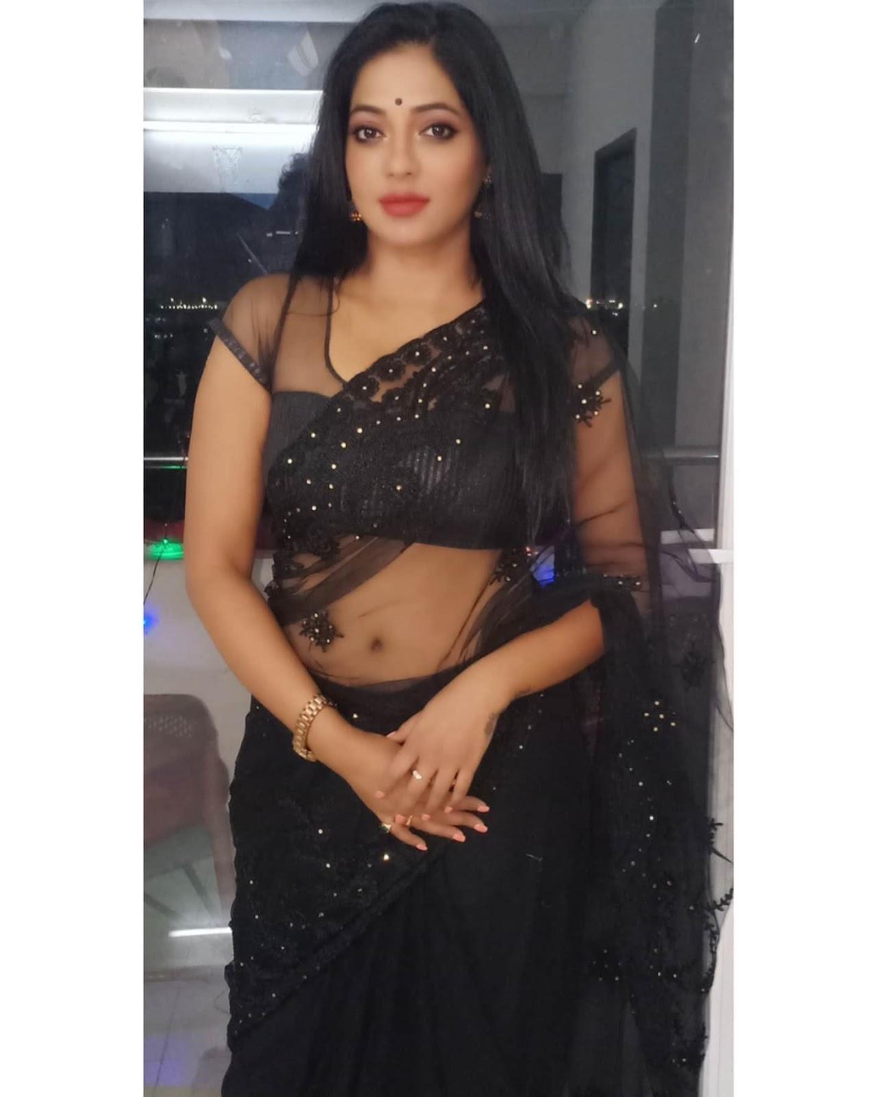 Reshma Pasupuleti in black transparent saree Navel Queens