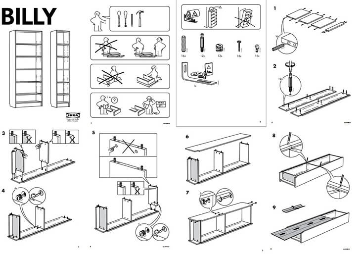Ikea assembly instructions for the Billy bookcase. The image is made up of diagrams containing very little text, but clearly showing the steps for assembling the product.