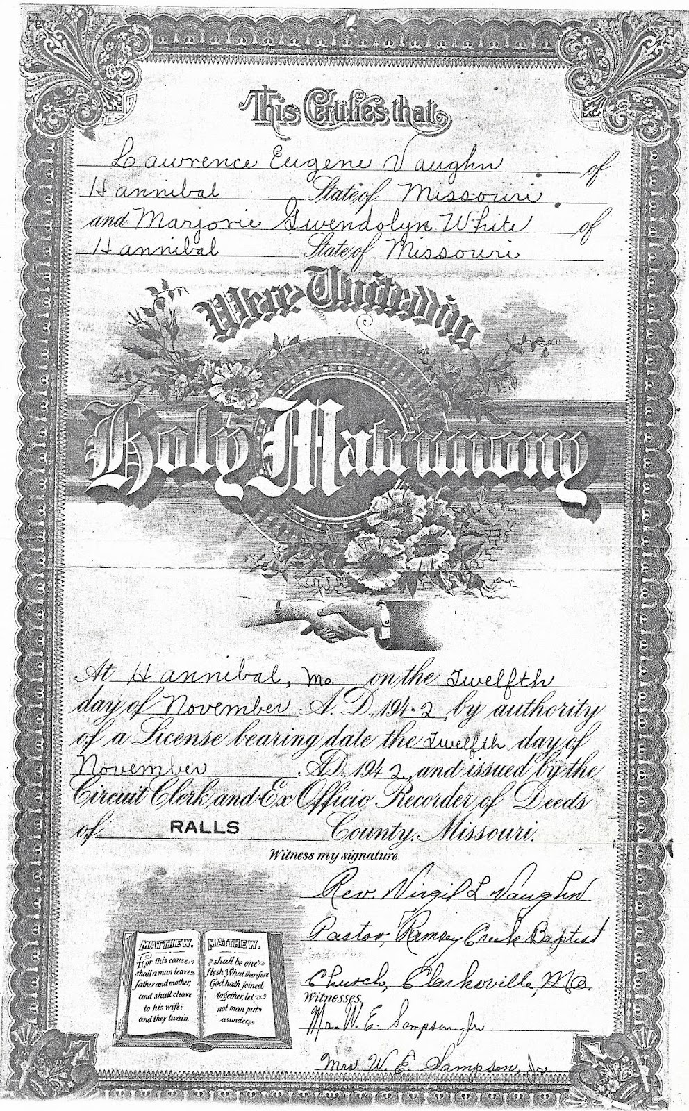 Eugene and Marjorie Vaughn Marriage License.jpg