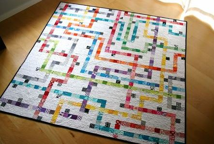 Quilt Designed as Map of the Tokyo Subwa