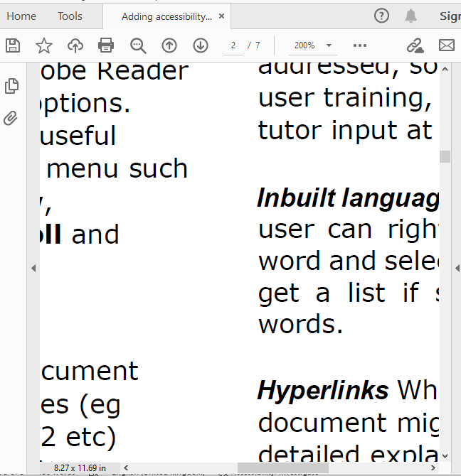 Text as PDF with poor accessibility features