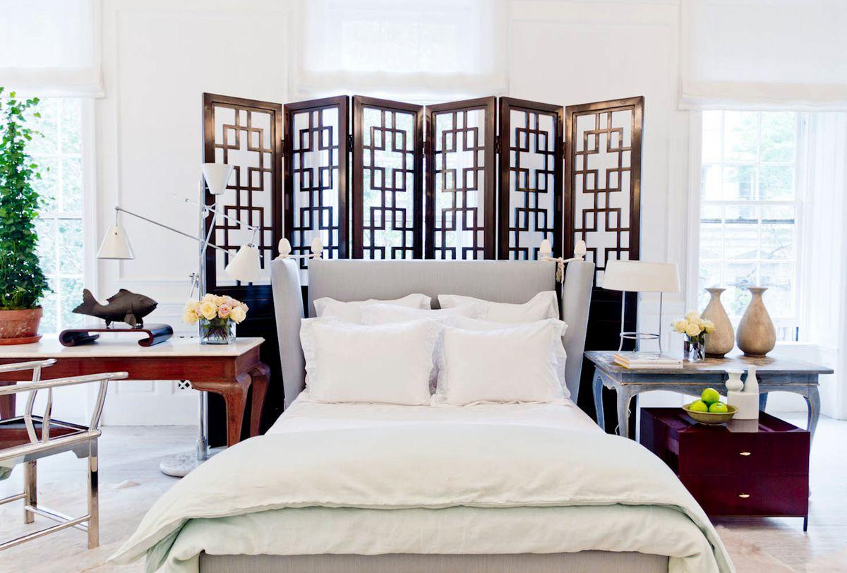 Bedroom Window Treatment Ideas with Folding Screen