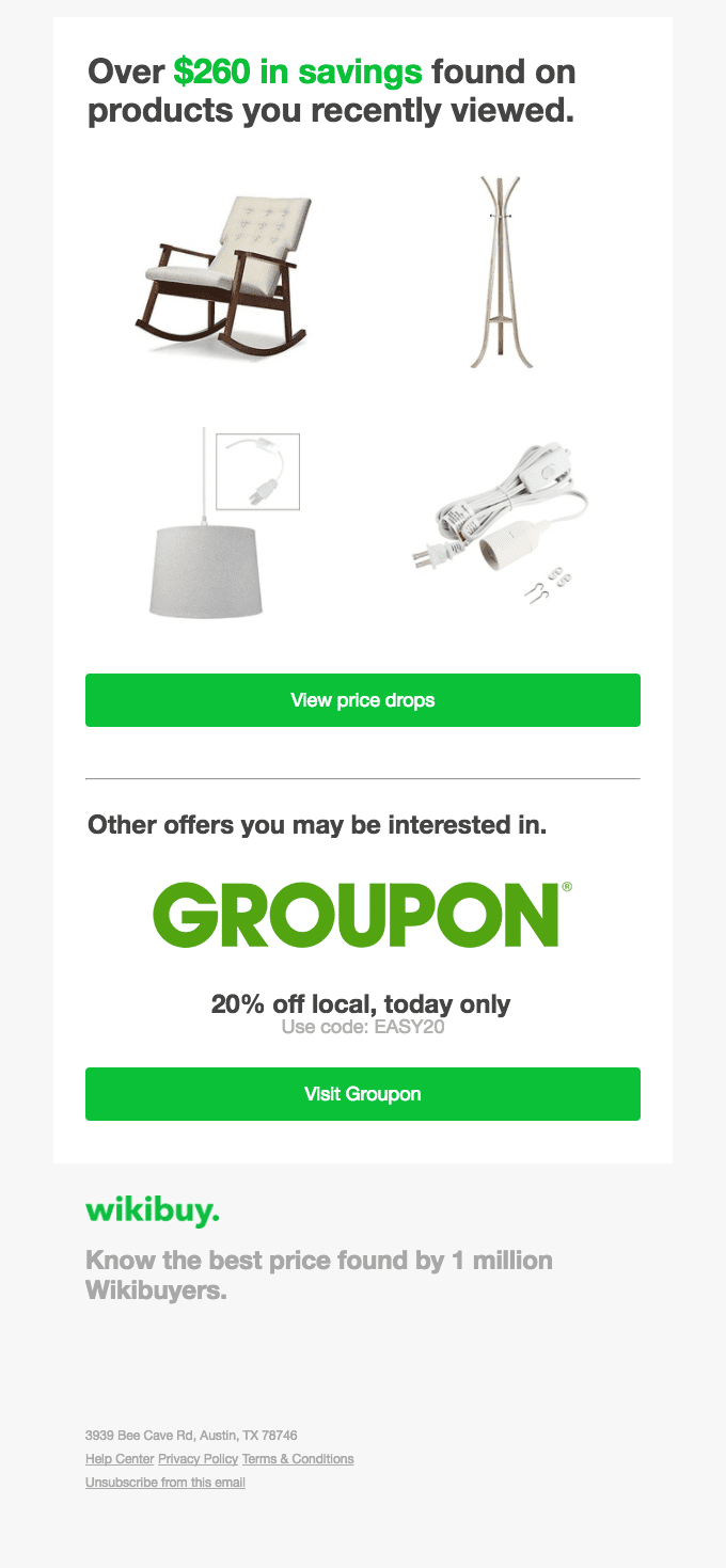 Groupon's cumulative savings approach highlights a deal.