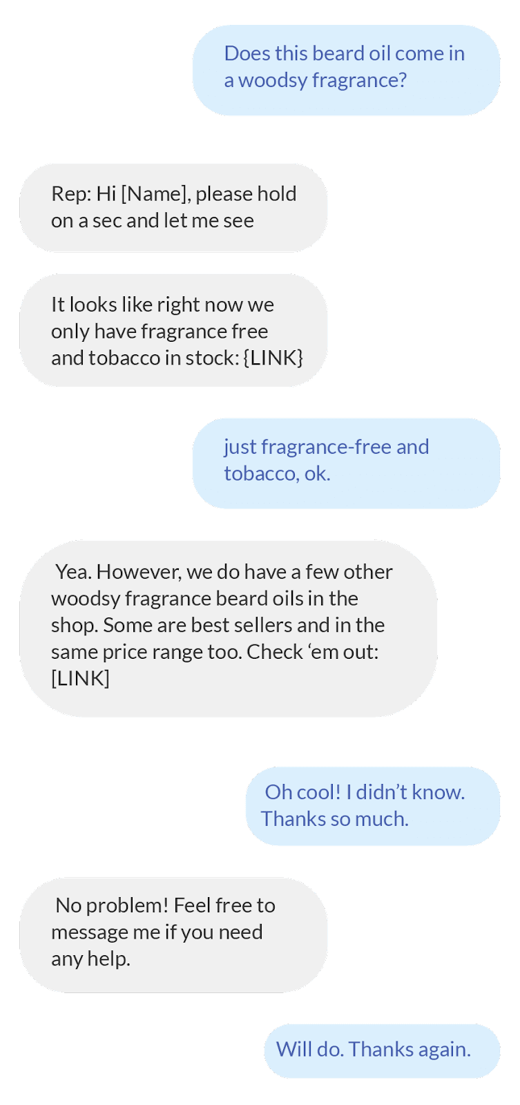 SMS conversation in Live Chat
