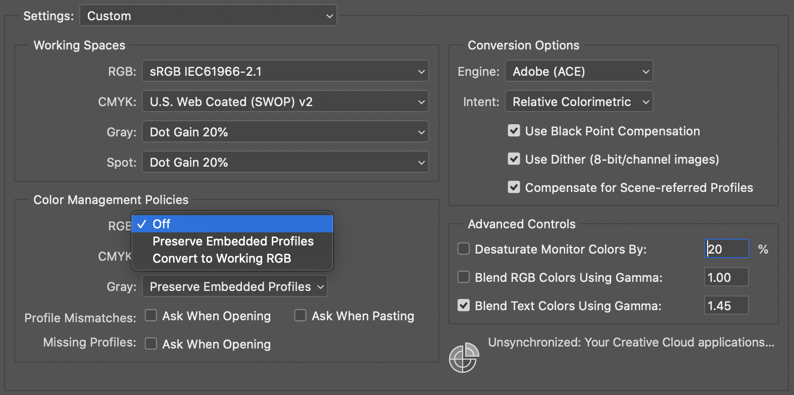 Color Settings menu in Adobe Photoshop and Illustrator