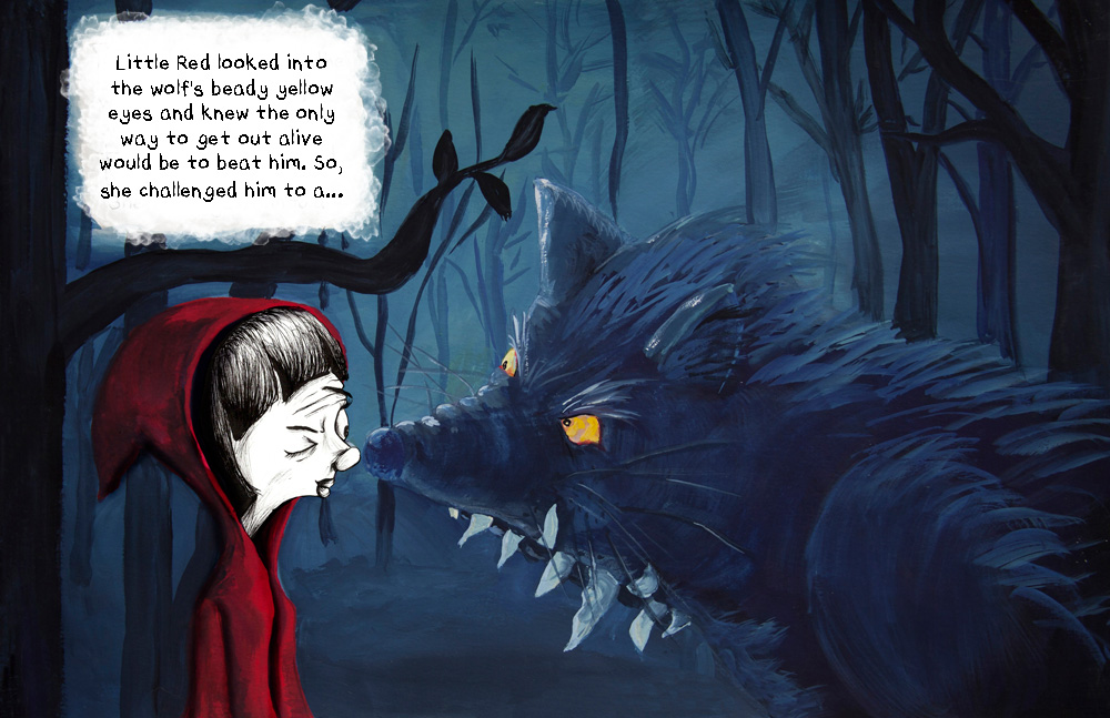 little red riding hood nose to nose with very fierce looking wolf with yellow eyes. Little Red looks unimpressed.