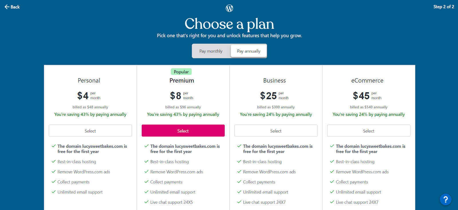 Choosing a plan for your WordPress.com website