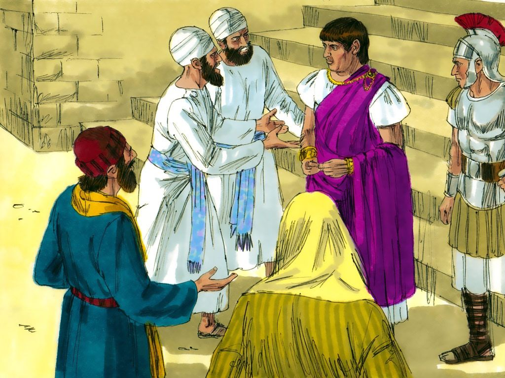 FreeBibleimages :: Jesus on trial before Herod and Pilate :: Jesus faces  trial before Herod Antipas and Pilate (Matthew 27:11-26, Mark 15:1-15, Luke  23:1-25, John 18:28-40)