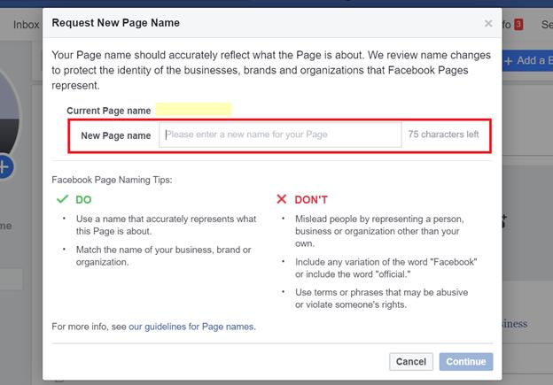 Đổi tên trang mới phù hợp với chính sách Facebook
