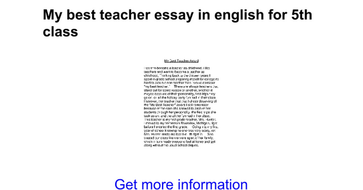 Essay My Class My Best Teacher Essay In English For Th Class Google  My Best Teacher Essay In English For Th Class Google Docs Business Ethics Essay Topics also Thesis Statement Examples For Narrative Essays  Wonder Of Science Essay