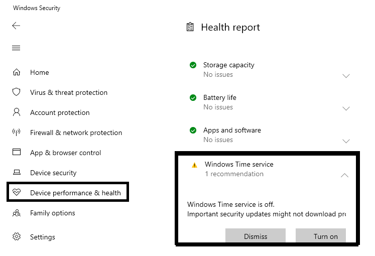 Check the Device Performance and the Health to fix Internal Power Error 0x000000a0 in Windows 10