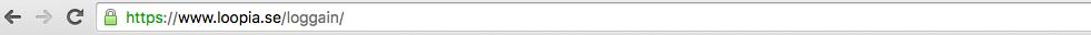 Korrekt adress till Loopias inloggningssida
