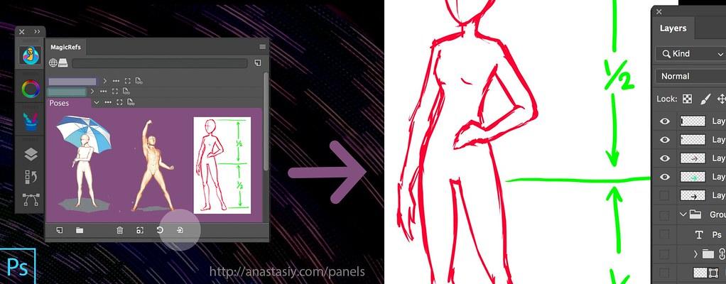 Imagem do layout do Photoshop onde é possível que o estudante de Design possa criar e desenvolver imagens através da utilização de layers e camadas.