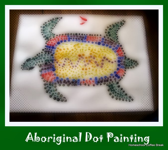 Australian Aboriginal Dot Painting on the Virtual Refrigerator, an art link-up at Homeschool Coffee Break @ kympossibleblog.blogspot.com #Australia #art #VirtualFridge
