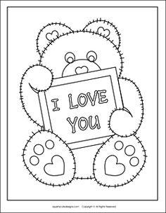 A teddy bear valentine coloring page