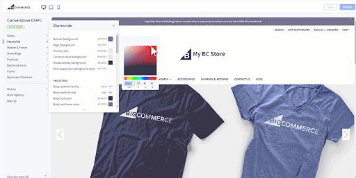 Screenshot of Bigcommerce platform