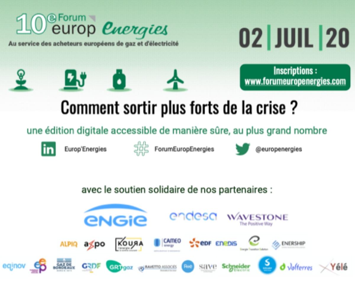Publicité pour le Forum Europ Energies comprenant la date, les partenaires le slogan et une redirection vers les réseaux sociaux