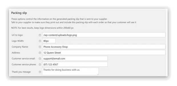 Dropshipping customise email notifications