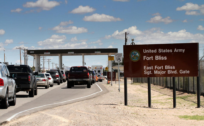 This Sept. 9, 2014 file photo shows entrance to Fort Bliss in El Paso, Texas, where the 11 US Army soldiers have been injured after ingesting ethylene glycol during a field training exercise. (AP Photo/Juan Carlos Llorca, File)