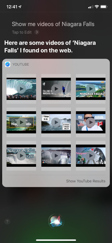 Siri UI for video results