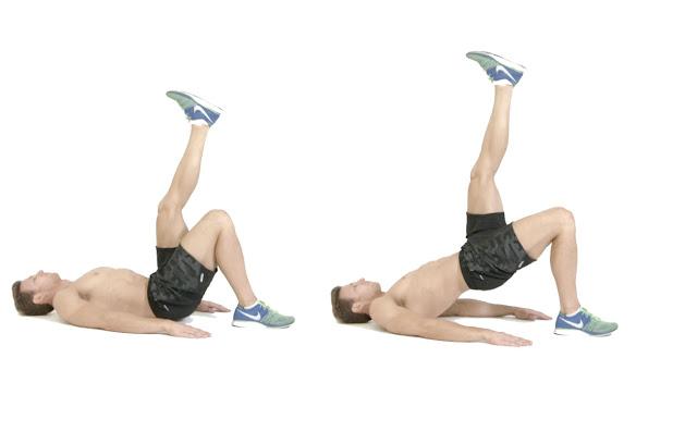 Bài tập Glute Bridge nâng chân - Bài tập gym tại nhà tăng vòng 3 cho nam