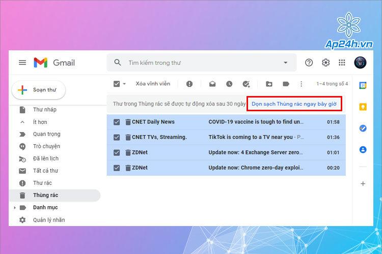 Dọn sạch thùng rác trên Gmail