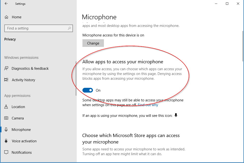 Allow apps option