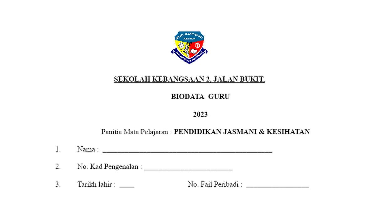 Borang Biodata Panitia Doc Google Drive