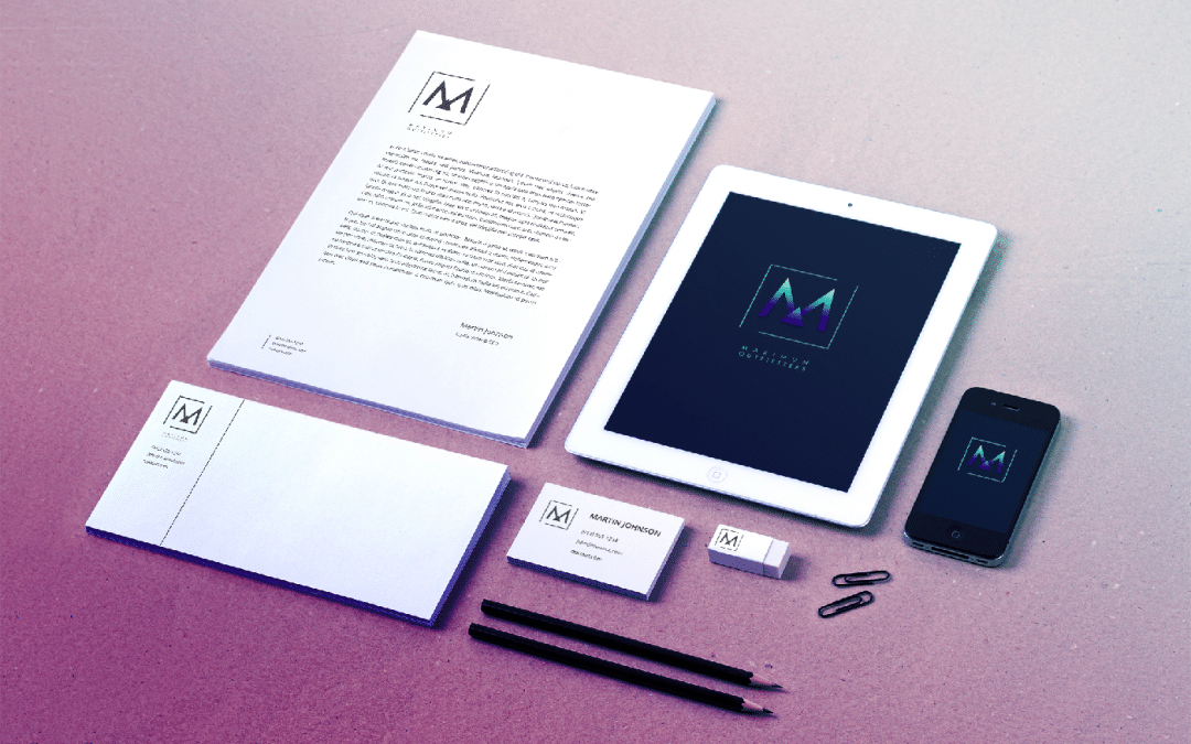 iPad phone and marketing material with branding