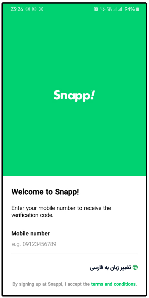 The first page of Snapp- Termeh Travel