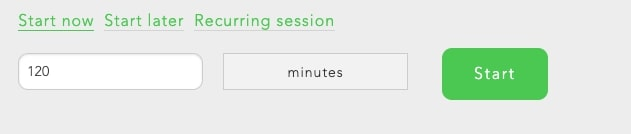 Choose how long you want your block session to last