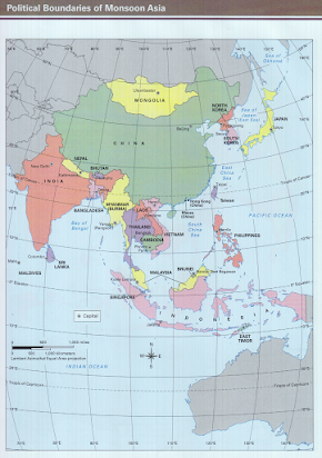 Map Of Monsoon Asia With Capitals.Copy Of Asiasketchmap 1 Docx