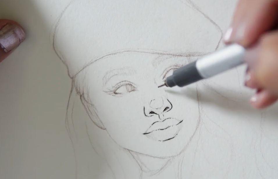 drawing line with pen