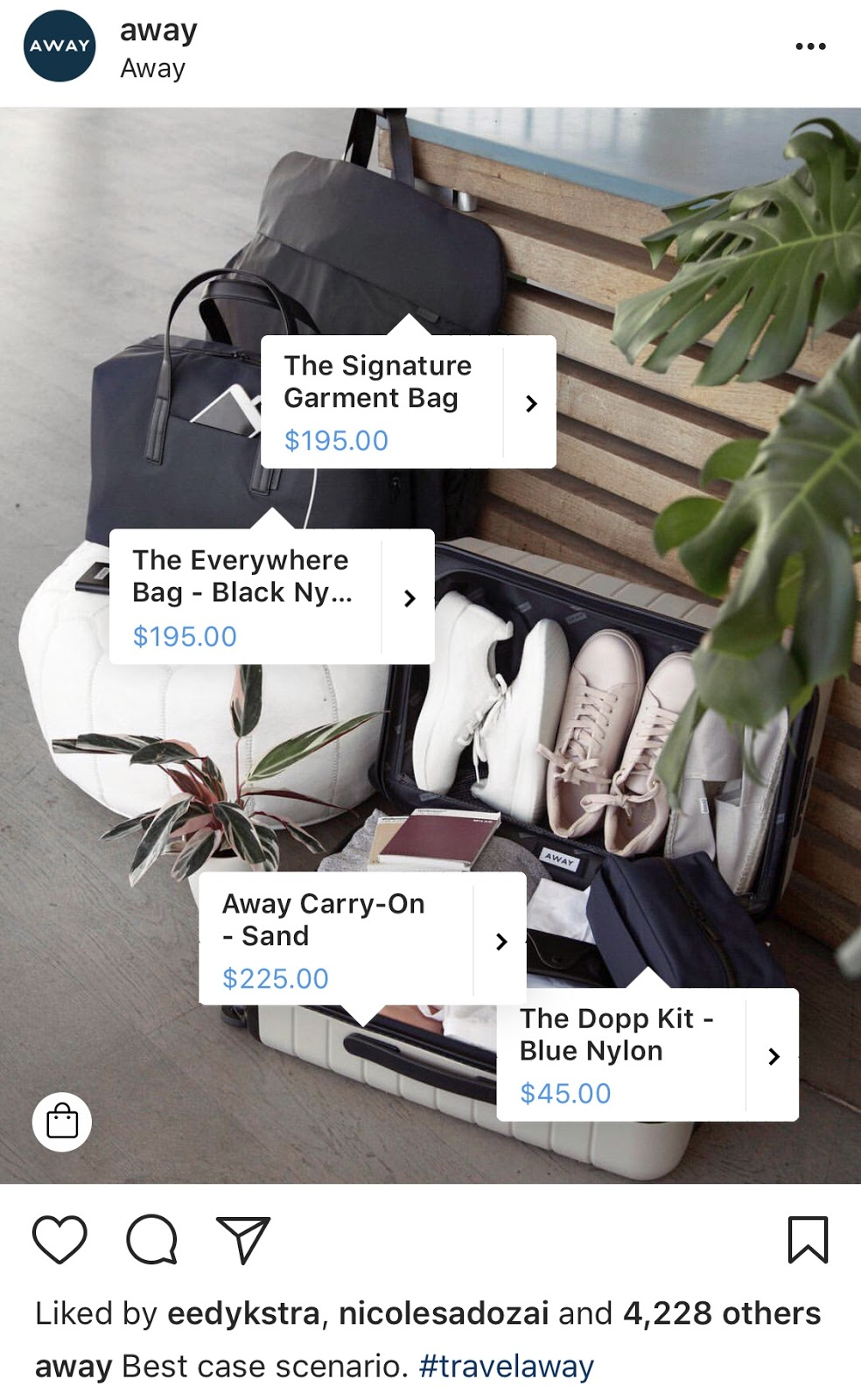 Screenshot of Instagram profile with shoppable features