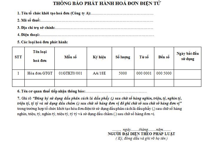 Mẫu số 2 Thông báo phát hành Hóa đơn điện tử