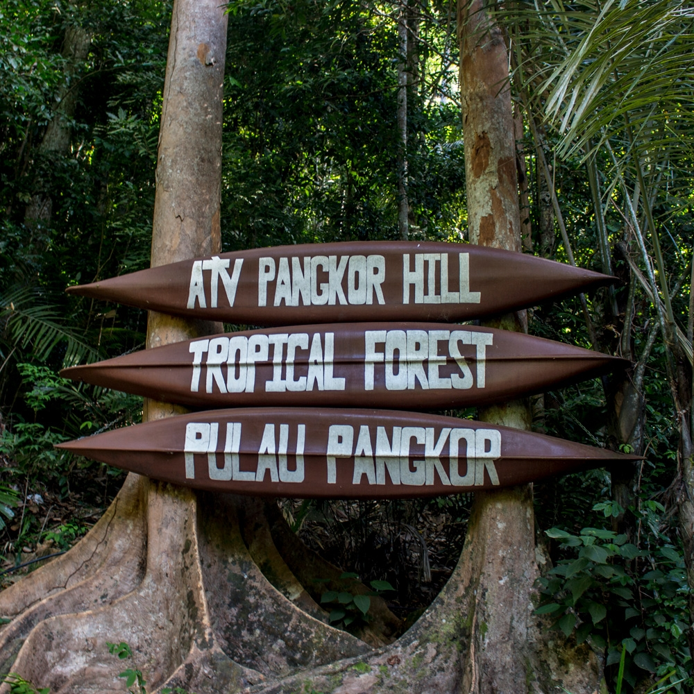 A signboard that greets you at Pangkor Hill.
