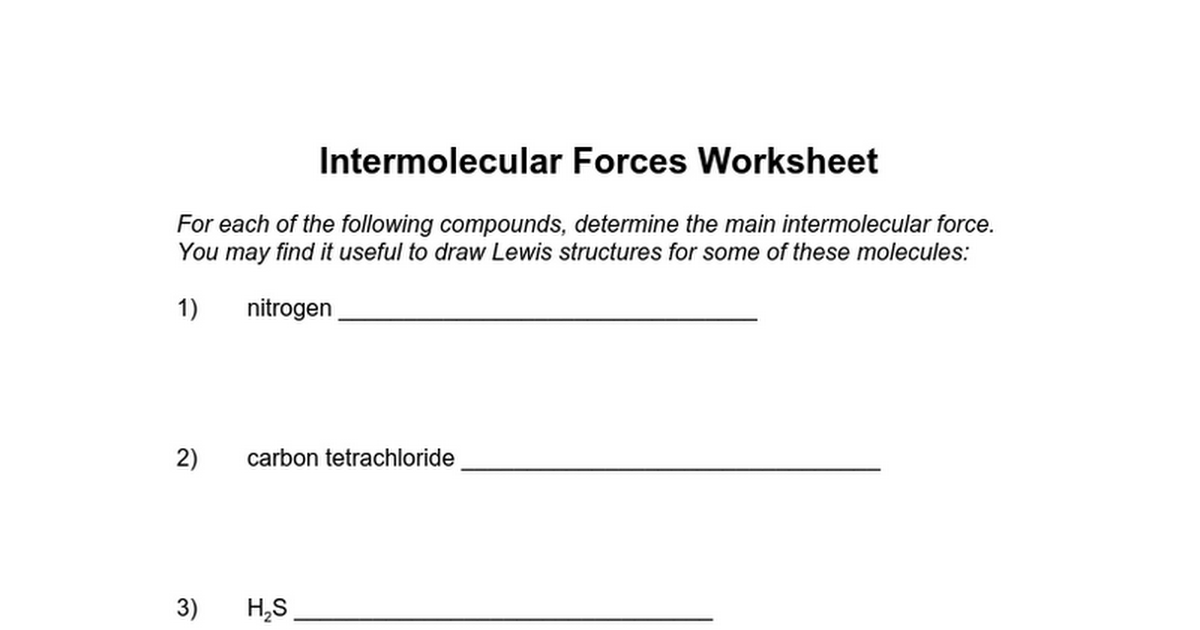 06 Intermolecular forces practice worksheet 2doc Google Docs – Intermolecular Forces Worksheet