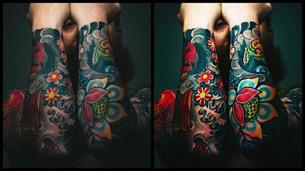 Montagem com 2 fotos do mesmo homem com os braços cobertos de tatuagens coloridas mostrando o antes e depois da edição.