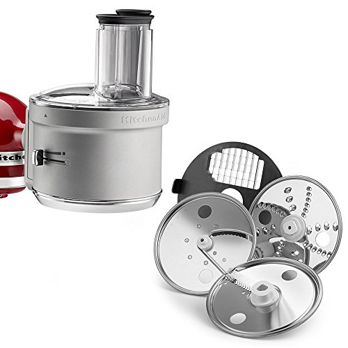 This image shows the attachment piece for a Kitchenaid standing mixer converting it into a food processor. Also, it shows several different included blades.