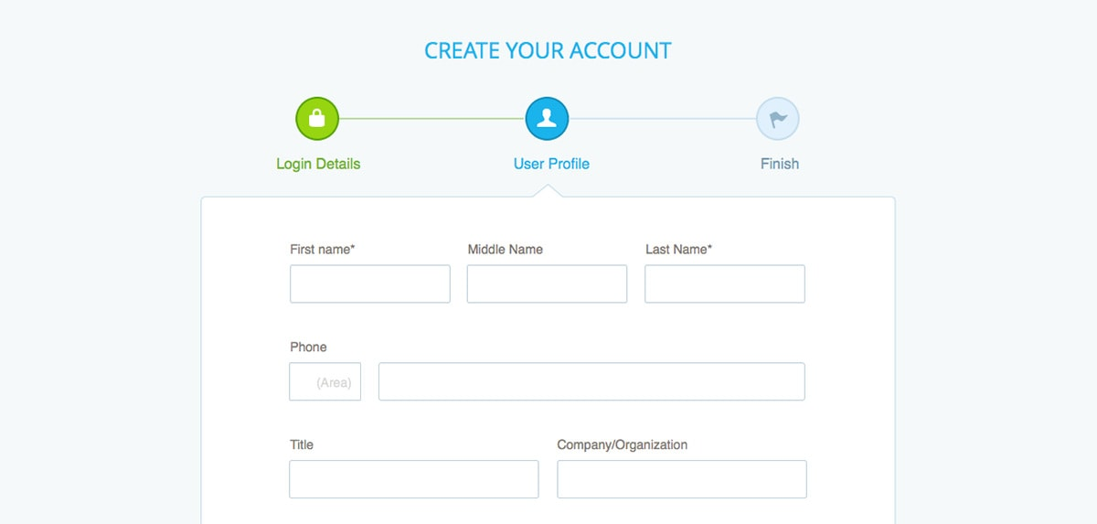 An example of how you can show progress on account creation in your apps