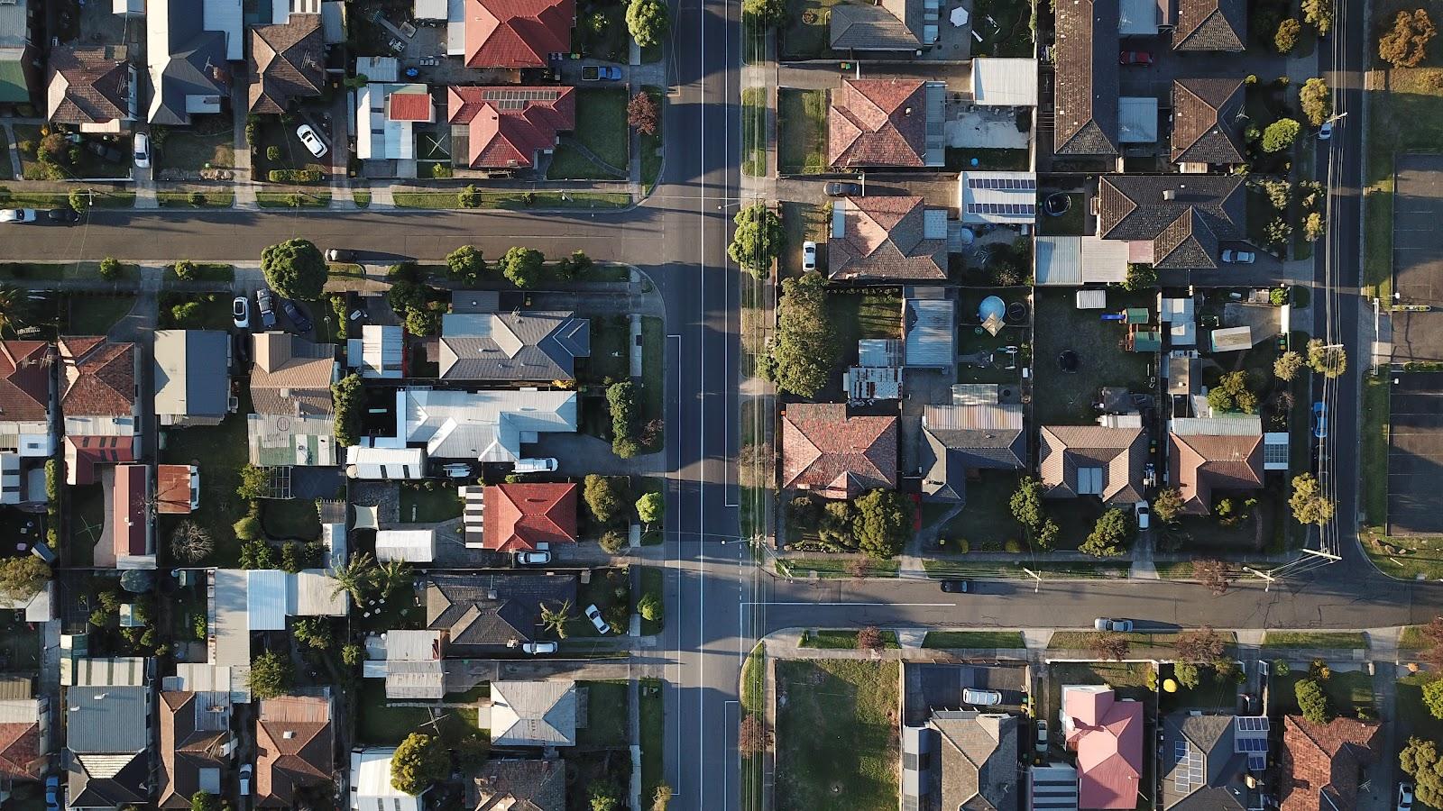 Aerial view of suburban Australian streets