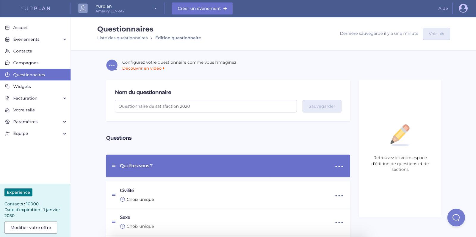 Capture d'écran de la plateforme Yurplan et des questionnaires de satisfaction aux participants