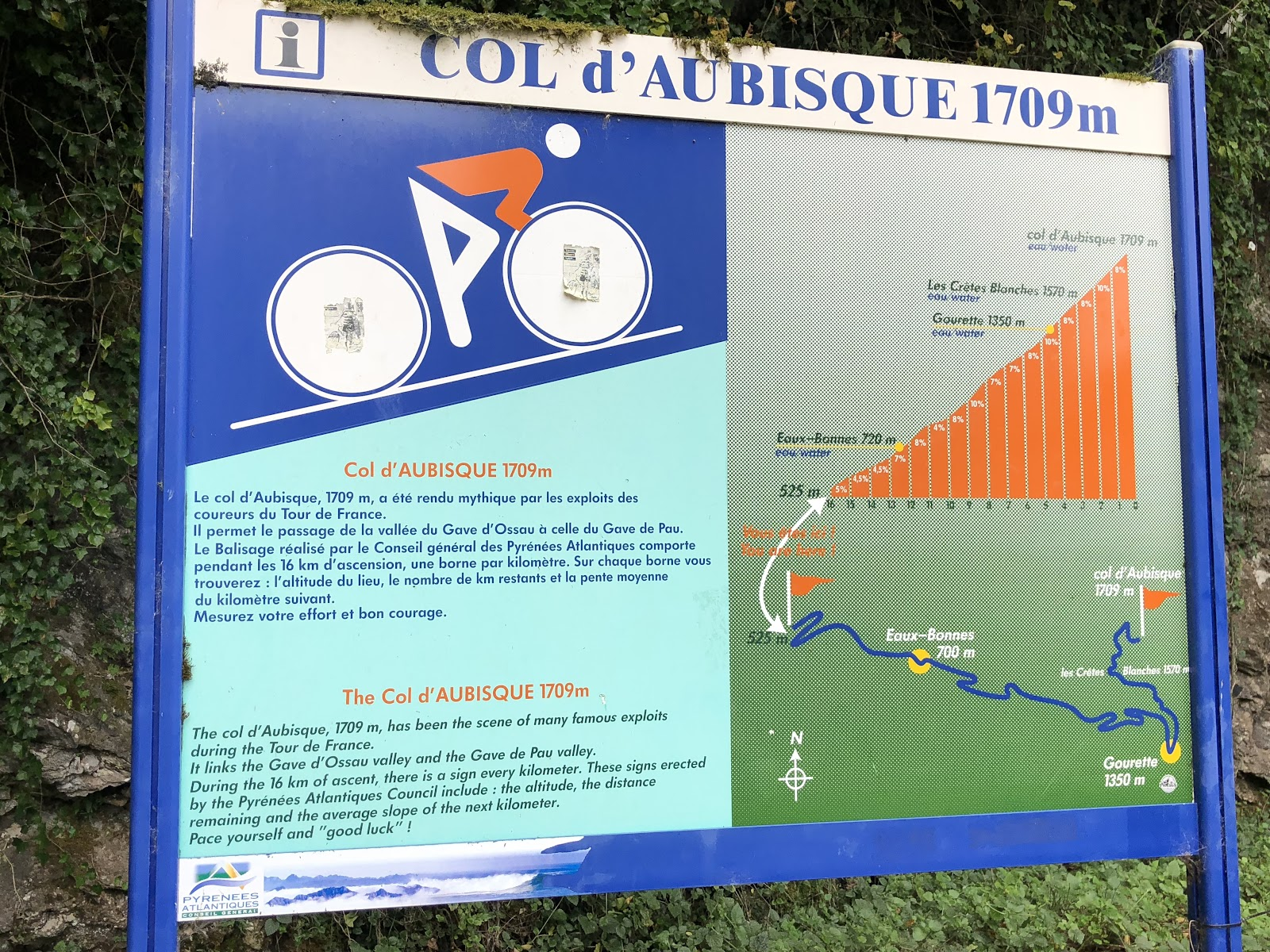 Cycling Col d'Aubisque  from Argeles Gazost - sign at start of bike climb