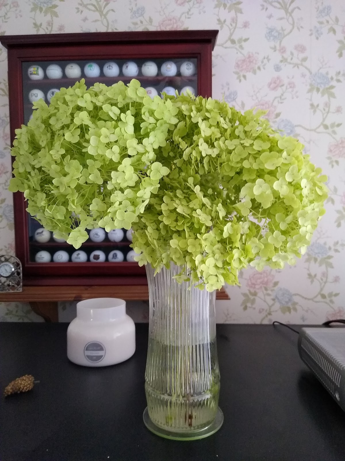 dried incrediball hydrangea floral arrangement