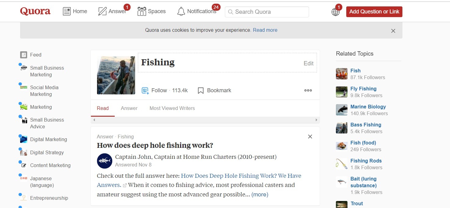 Screenshot of a Quora thread about Fishing.