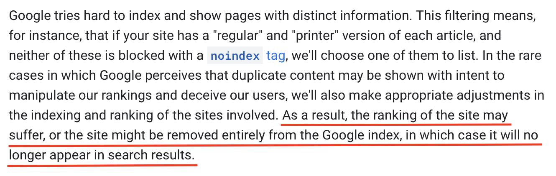 Google penalizes duplicate content