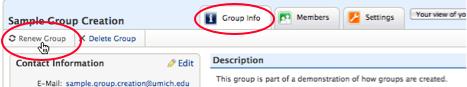 Screenshot of the Renew Group button.