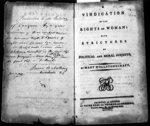 "A black and white picture of an old cover page of ""A Vindication of the Rights of Women"""